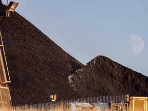 A pile of coal supply that would have been used at the Sheerness power plant in Hanna, Alta. Westmoreland Coal Co., which runs the mine, entered bankruptcy protection in 2018.