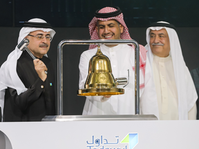 Amin H. Nasser, President and CEO of Aramco, rings the bell during the official ceremony marking the debut of Saudi Aramco's initial public offering on the Riyadh's stock market, in Riyadh, Saudi Arabia on Wednesday.
