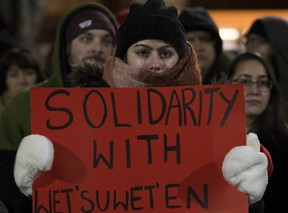 Energy projects have sparked protests across the country. In this file photo, Edmontonians  are shown rallying in support of the Wet'suwet'en First Nation in early 2019.