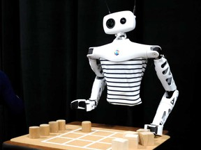 """""""Reachy,"""" an open-source robot by Pollen Robotics, is displayed during the 2020 CES in Las Vegas Sunday."""