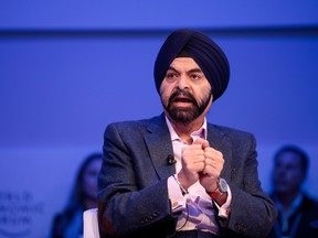 Ajay Banga, Mastercard president and CEO, at the World Economic Forum in Davos, Switzerland, last month.