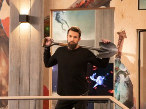 Rob McElhenney's Ian (pronounced I-ann) Grimm looks out over his studio in the first episode of Apple TV+'s Mythic Quest: Raven's Banquet.