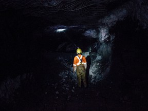 A contractor works at an underground gold mining operation in Val d'Or, Quebec, in 2015.
