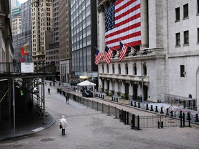Wall Street stands empty in New York City.
