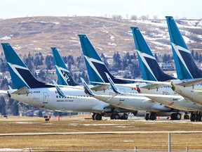 Dozens of WestJet planes are being parked around the Calgary International Airport as the COVID-19 pandemic shuts down most passenger air traffic around the world.
