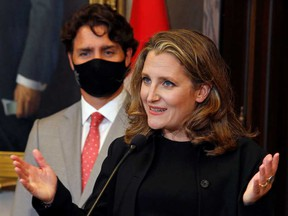 Deputy Prime Minister and Finance Minister Chrystia Freeland with Prime Minister Justin Trudeau on Parliament Hill in Ottawa.
