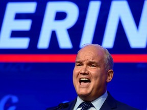 Conservative Party of Canada Leader Erin O'Toole speaks after his win at the 2020 leadership election in Ottawa, Aug. 24, 2020.