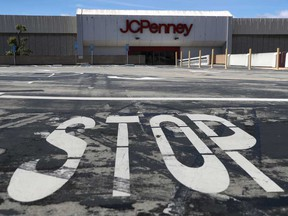 A temporarily closed JCPenney store in San Bruno, California in May 2020. J.C. Penney Co Inc reached a reached a tentative deal with landlords and lenders valued at US$1.75 billion to rescue it from bankruptcy proceedings, averting a liquidation that would have threatened roughly 70,000 jobs.