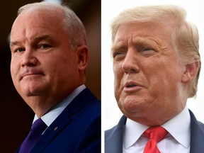 In policy terms, Canada's new Conservative party leader Erin O'Toole, left, is more like U.S. President Donald Trump, right, than not, writes Terence Corcoran.
