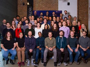 The Trint team in December 2019, with Jeff Kofman pictured in the front.