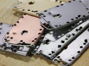 Aluminum iPhone cases at an Apple recycling facility in Austin, Texas.