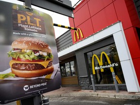 """Beyond Meat was seen as the front runner for a contract as it had conducted tests of a so-called """"P.L.T."""" burger at nearly 100 McDonald's locations in Ontario, Canada, earlier this year."""