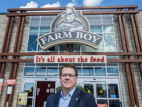 Michael Medline, president and CEO of Empire Company Limited, stands outside of a Farmboy store in Toronto. Empire bought the Farm Boy chain in southern Ontario in September 2018.