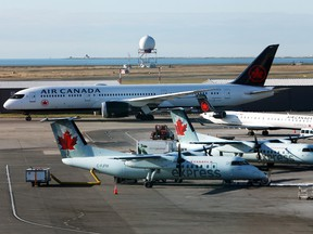 Air Canada planes at Vancouver's International Airport.