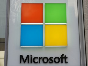 Microsoft logo is pictured on a store in the Manhattan borough of New York City, New York, U.S., January 25, 2021.