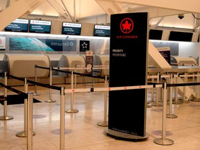 View of the empty counter of Air Canada at the International Aiport in Mexico City after the Canadian government banned flights to and from Mexico and the Caribbean to avoid further contagion from COVID-19.
