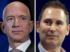 Amazon.com Inc founder Jeff Bezos, left, is stepping down as chief executive. He will be replaced by Andy Jassy, right, the current head of Amazon's cloud computing division.