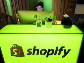 An employee works at Shopify's headquarters in Ottawa.