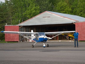 Dominic Cardy at Woodstock airport with his Apollo Fox twin-seater.