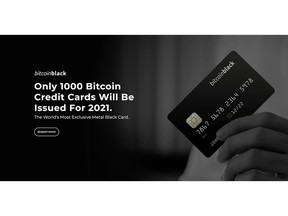Only 1000 BitcoinBlack Credit Cards will be issued in 2021 for Canadians.