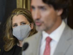 Prime Minister Justin Trudeau with his Finance Minister Chrystia Freeland. The governing Liberals earned 33 per cent support in a Nanos Research Group survey for Bloomberg News asking Canadians which party is best suited to manage the public purse.