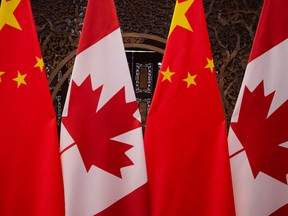 Canadian and Chinese flags.