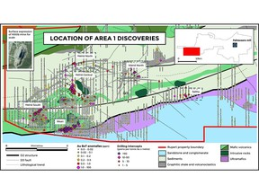 Figure 1. New discoveries and base of till anomalies at Area 1