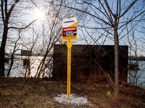 signpost marks the presence of Enbridge's Line 5 pipeline, which Michigan Governor Gretchen Whitmer ordered shut down in May 2021, in Sarnia, Ont.