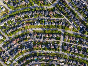 An aerial photo of homes in Burnaby, B.C.