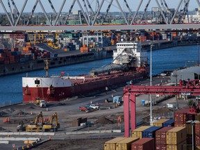 A container ship docked at the Port of Montreal.