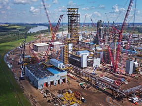Inter Pipeline's Heartland Petrochemical Complex is seen during construction in an aerial photograph in Fort Saskatchewan, Alberta.