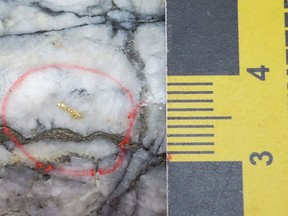 Visible Gold from MH-21-165 at 80 m (Footwall Splay) – the scale shows 1 cm (from 3-4)