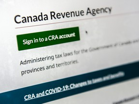 Photo of CRA's website and sign in page.