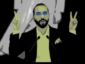 El Salvador President Nayib Bukele with laser eyes, a meme signalling support for crypto.