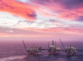 File photo shows the Johan Sverdrup oil field in the North Sea west of Stavanger, Norway.