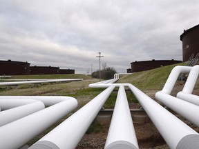 Pipelines run to Enbridge Inc.'s crude oil storage tanks at their tank farm in Cushing, Oklahoma. The pipeline company won a victory over a 116-mile (187-km) pipeline from Pennsylvania to New Jersey.