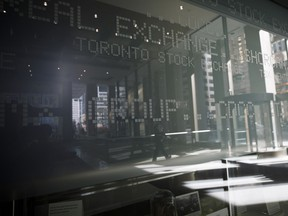 Signage for the Toronto Stock Exchange (TSX) is seen in the financial district of Toronto.
