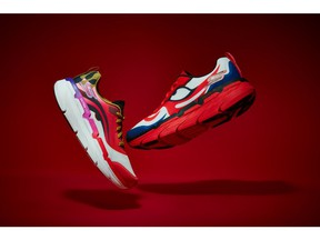 Skechers Max Cushioning styles from the limited-edition Skechers x kansaïyamamoto collaboration featuring the artist's iconic Kabuki-inspired designs.