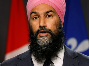 """Canada's New Democratic Party leader Jagmeet Singh announced a key element of his party's economic strategy: infrastructure """"made with Canadian products, Canadian steel, Canadian aluminum."""""""