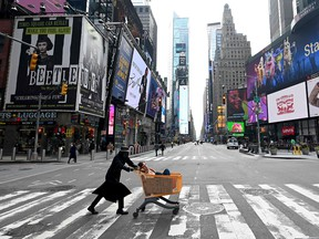 Times Square in Manhattan in New York City on March 17, 2020.