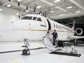 A Bombardier Global 7500 business jet in Montreal.