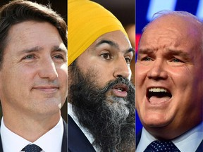 This combination of pictures shows Canada's Prime Minister Justin Trudeau, NDP leader Jagmeet Singh and Conservative Leader Erin OToole.
