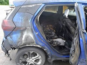 Image released by the Vermont State Police shows a 2019 Chevrolet Bolt EV after it caught fire on July 1, 2021 in Thetford, Vermont.