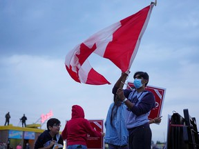 Supporters of Liberal leader and Prime Minister Justin Trudeau at a campaign stop in Ontario.