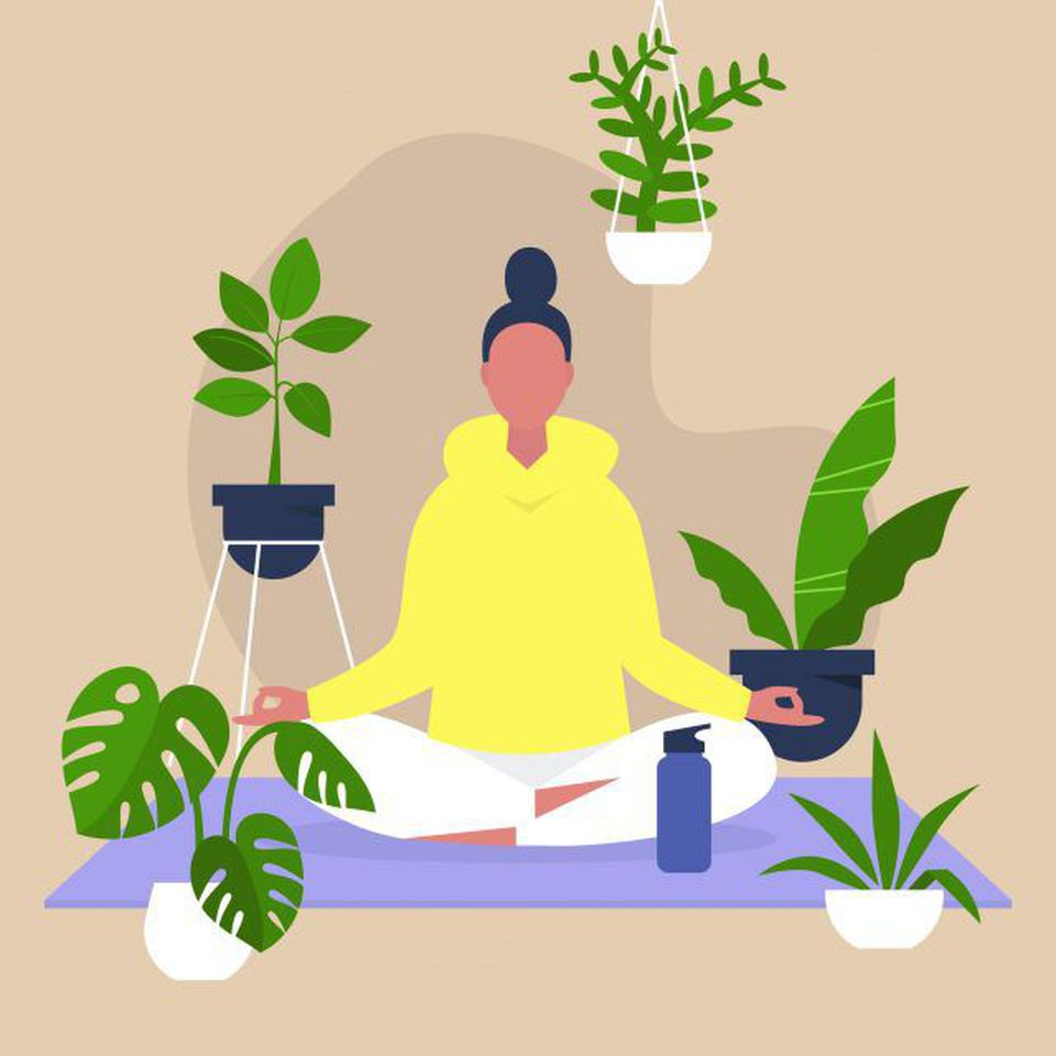cartoon of woman doing yoga while surrounded by plants