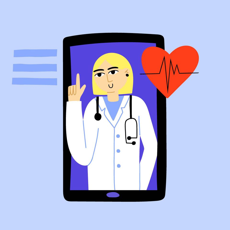 illustration of doctor on phone