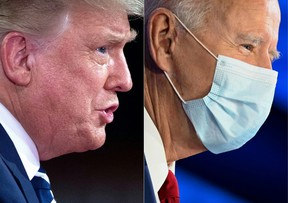 side-by-side photo of Donald Trump and Joe Biden during a town hall on October 15, 2020