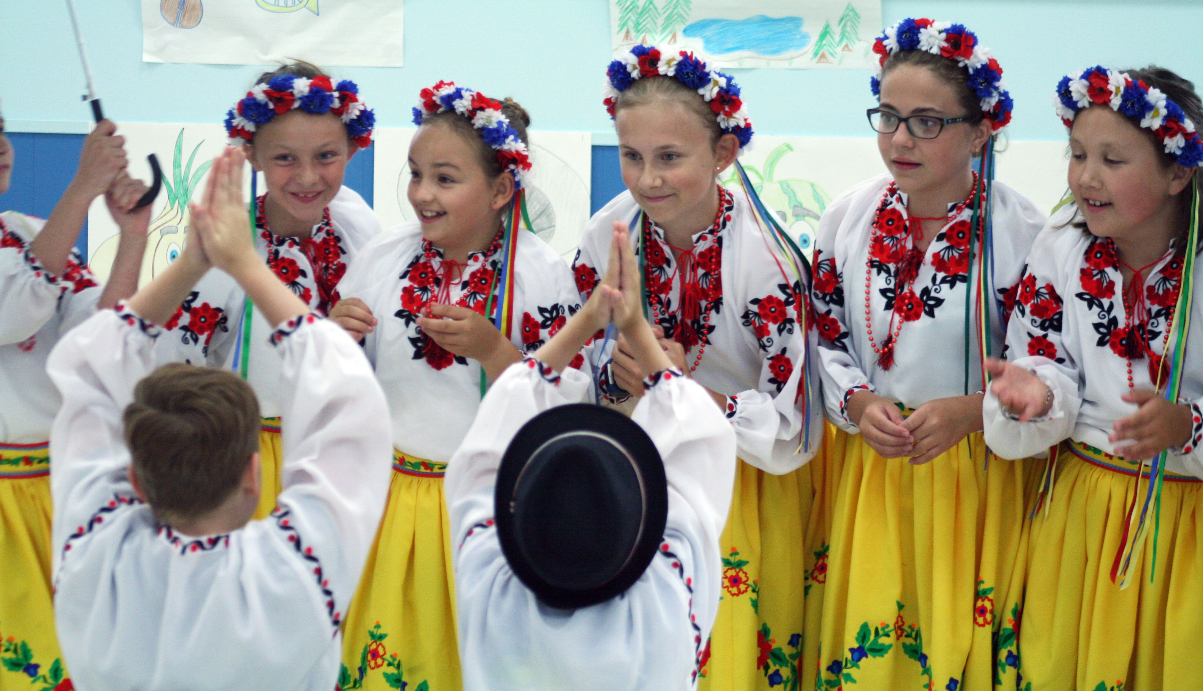 """The girls have the last laugh in the dance """"Doschyk"""" at the Kenora Ukrainian Summer Camp dance recital at the Ukrainian Literacy Hall in Kenora on Friday, July 20. Ryan Stelter/Daily Miner and News."""
