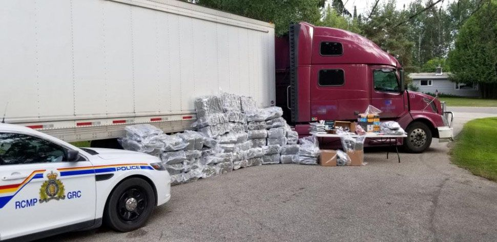 RCMP officers seized 925 pounds of vacuum-packaged marijuana as well as 75 pounds of cannabis shatter, oils edicbles hidden among the legitimate load of food products. Supplied.