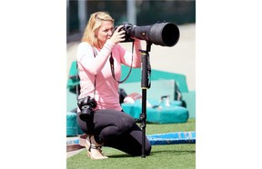 Johany Jutras is capturing the uniqueness of the CFL through her camera lens (BRYAN SCHLOSSER/The Leader-Posrt)
